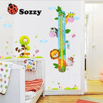 Child Growth Chart Height Measurement Ruler and Wall Décor for Nursery, Zoo Animals