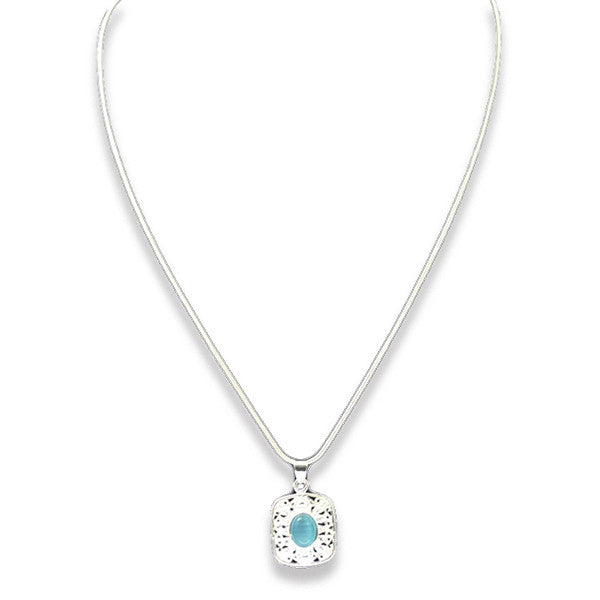 925 Sterling Silver Necklace with Ocean Blue Stone - Gifts Are Blue - 1