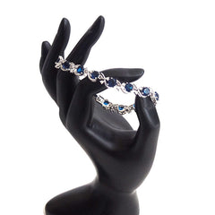 Beautiful Sterling Silver Bracelet with Blue and White Stones