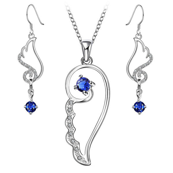 Stylish Blue Feather Design Necklace and Earrings Jewelry Set