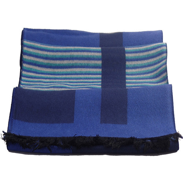 Stylish Mens All Seasons Viscose Cotton Blue Scarf