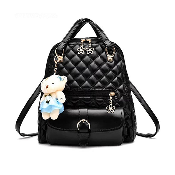 Stylish Plush Backpack with Teddy Bear Charm, Main, Black