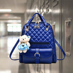 Stylish Plush Backpack with Teddy Bear Charm, Alt View, Blue