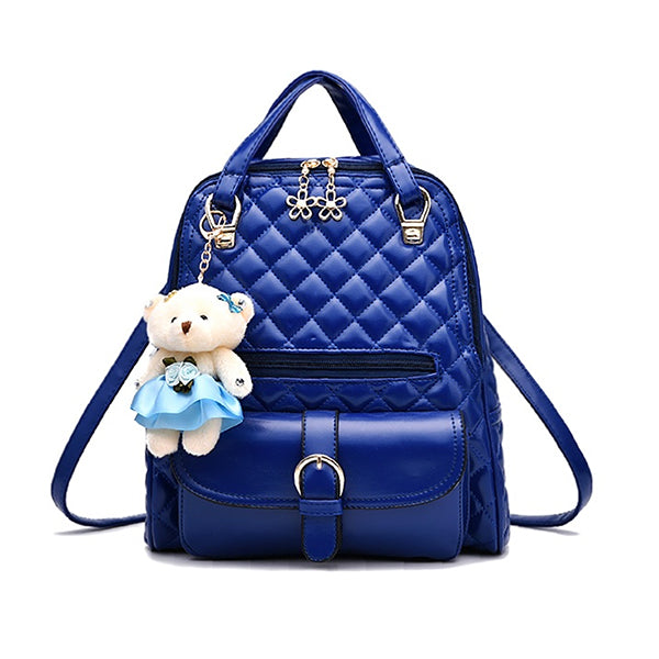 Stylish Plush Backpack with Teddy Bear Charm, Main, Blue