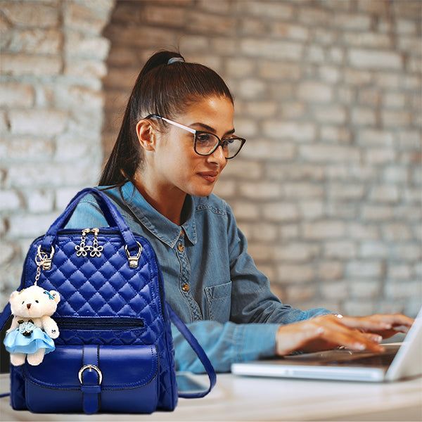 Stylish Plush Backpack with Teddy Bear Charm, Model, Blue