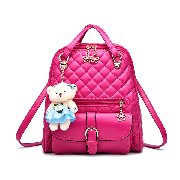 Stylish Plush Backpack with Teddy Bear Charm, Main, Hot Pink