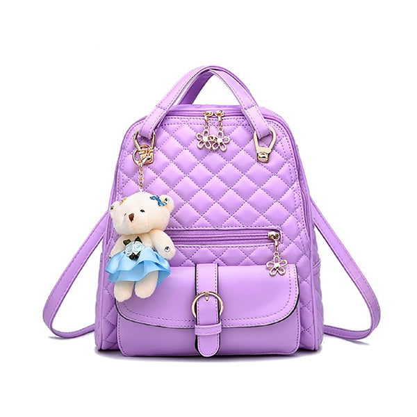Stylish Plush Backpack with Teddy Bear Charm, Main, Lavender