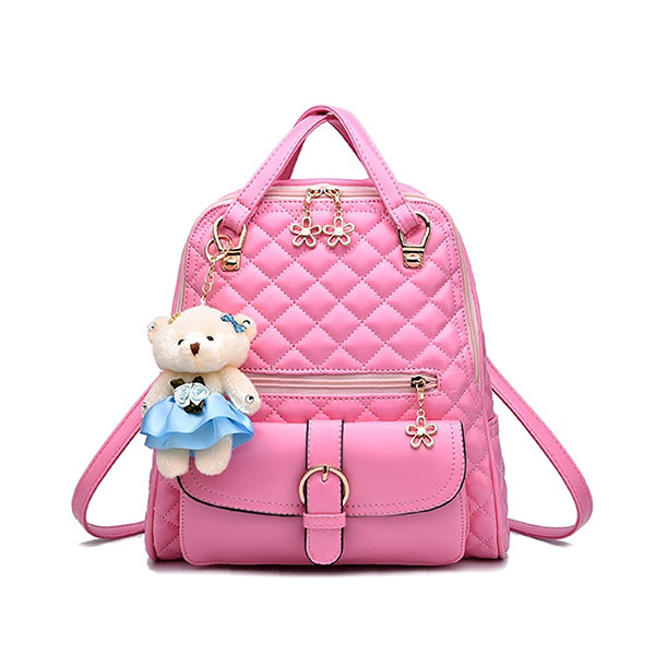 Stylish Plush Backpack with Teddy Bear Charm, Main, Light Pink