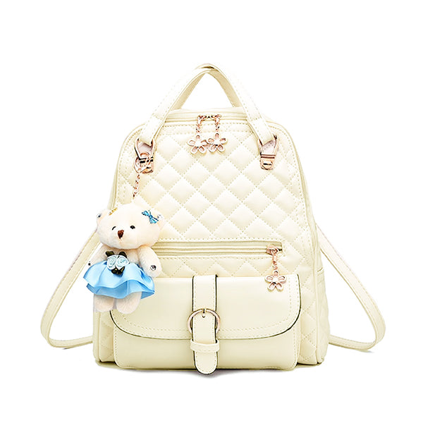 Stylish Plush Backpack with Teddy Bear Charm, Main, Off White