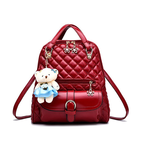 Stylish Plush Backpack with Teddy Bear Charm, Main, Red