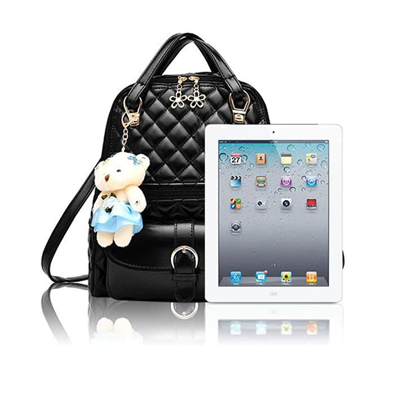 Stylish Plush Backpack with Teddy Bear Charm, iPad Compare, all SKUs