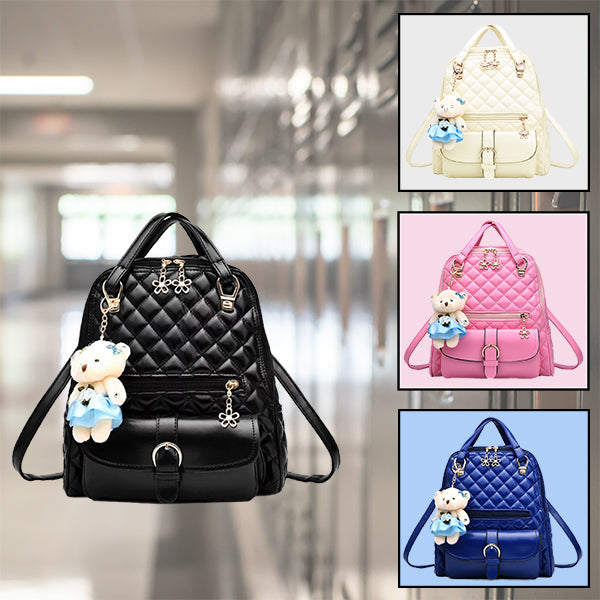 Stylish Plush Backpack with Teddy Bear Charm, Colors Alt, all SKUs