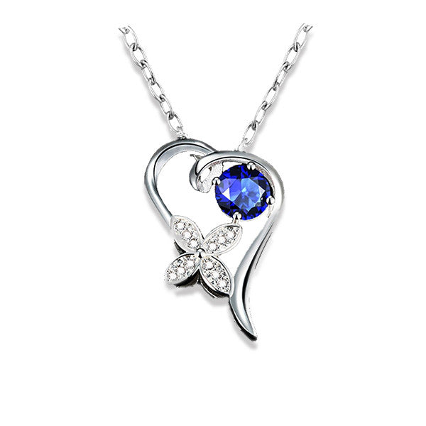Stylish Sterling Silver Necklace with Blue Cubic Zirconia
