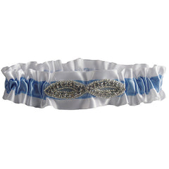 Stylish White and Blue Wedding Garter with Rhinestone Decoration - Gifts Are Blue - 1