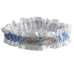 Stylish White and Blue Wedding Garter with Rhinestone Decoration - Gifts Are Blue - 3