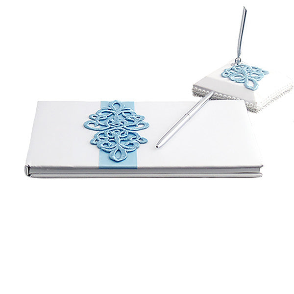 White Satin Wedding Guest Book and Pen Set with a Teal Scroll Design - Gifts Are Blue - 1