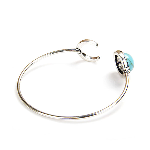 Vintage Silver Plated Turquoise Bangle Bracelet