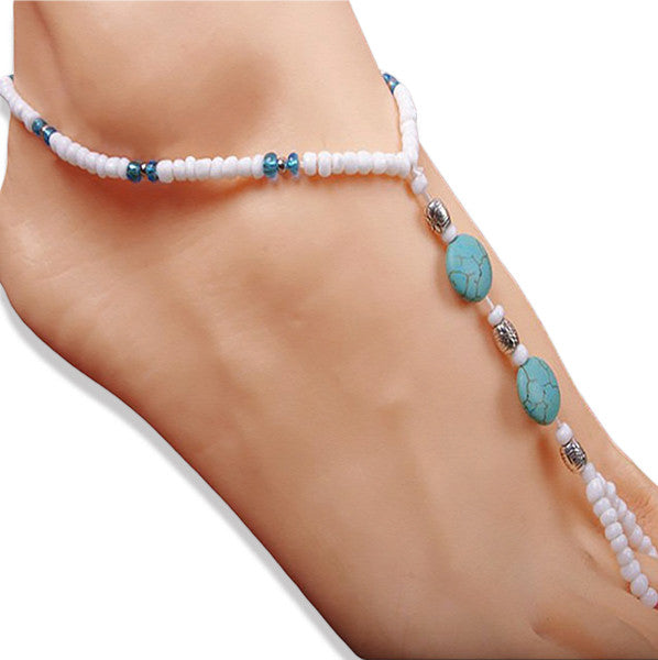 Turquoise Blue and White Stretchable Beach Wedding Footwear - Gifts Are Blue - 1