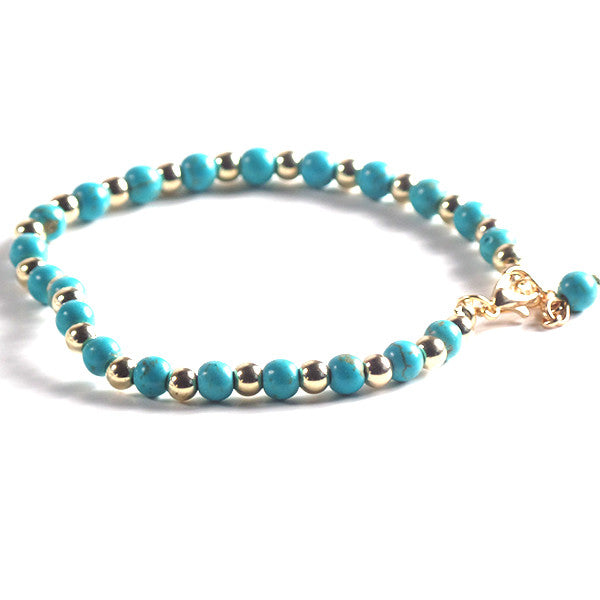 Stylish Double Anklet with Turquoise Beads and Gold Plated Chain - Gifts Are Blue - 4