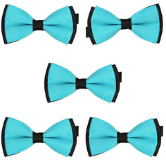 Mens Blue and Black Formal Event Pre-Tied Bow Ties Sets - Gifts Are Blue - 4