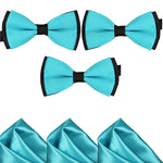 Mens Blue and Black Formal Event Pre-Tied Bow Ties and Pocket Square Sets - Gifts Are Blue - 3