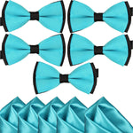 Mens Blue and Black Formal Event Pre-Tied Bow Ties and Pocket Square Sets - Gifts Are Blue - 6