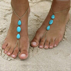 Womens Barefoot Sandal with Turquoise Medallions, Large, Size 11 - 13 - Gifts Are Blue - 2