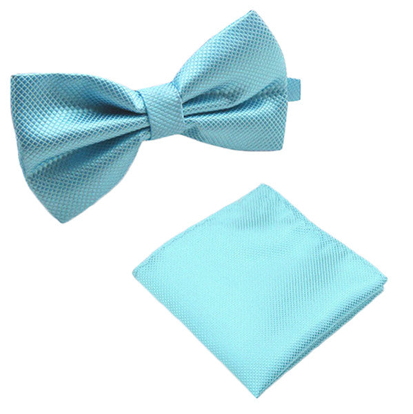 Solid Matching Pre-Tied Bow Tie and Pocket Square Sets for For Formal Events - Gifts Are Blue - 8