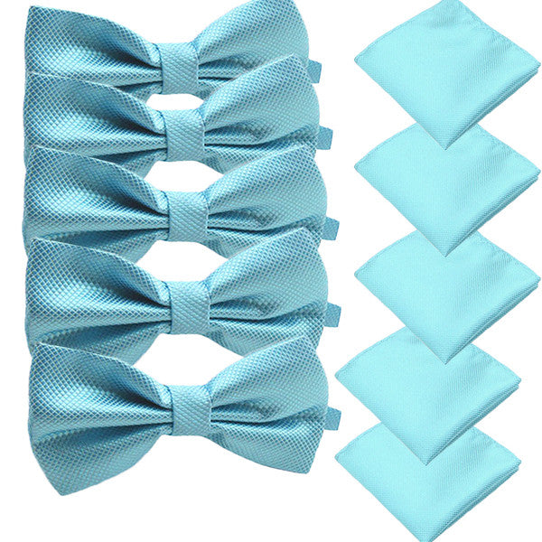 Solid Matching Pre-Tied Bow Tie and Pocket Square Sets for For Formal Events - Gifts Are Blue - 2
