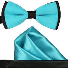 Mens Blue and Black Formal Event Pre-Tied Bow Tie and Pocket Square - Gifts Are Blue - 1