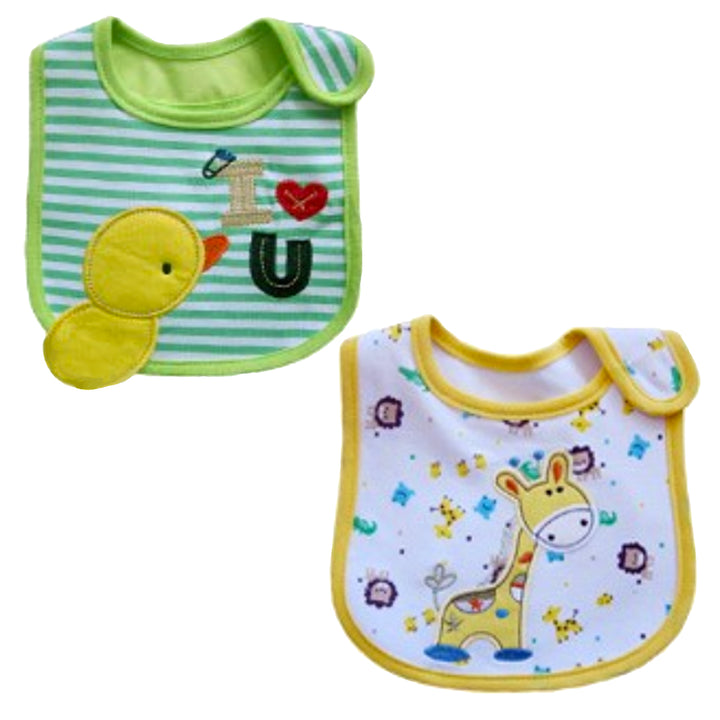 2 Pack of Baby Waterproof Cotton Bibs with Embroidered Designs - Gifts Are Blue - Unisex Giraffe Ducky Design