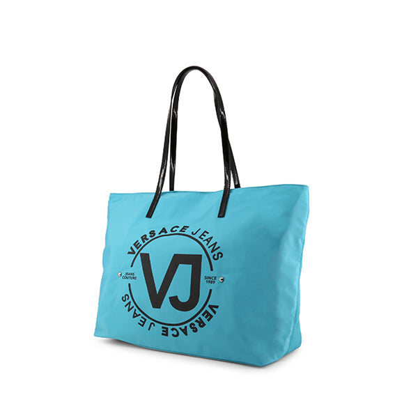Versace Jeans Couture Logo Print Shopping Tote Bag, Sideview, Blue