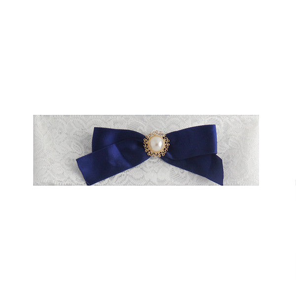 Vintage Wedding Bride Lace Garter with Navy Bow (Plus Size) - Gifts Are Blue - 1