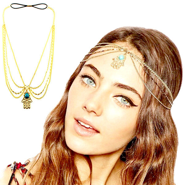 Vintage Gold Plated Turquoise Hair Chain / Headband - Gifts Are Blue - 1