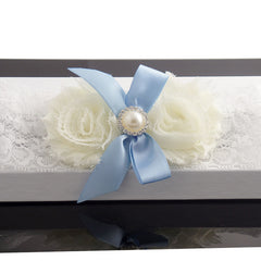 Vintage White and Blue Bride Wedding Garter with Flower and Ribbon - Gifts Are Blue - 2