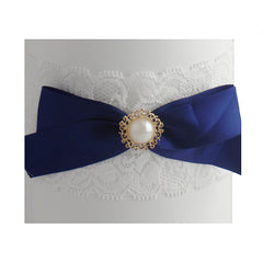 Vintage Wedding Bride Lace Garter with Navy Bow (Plus Size) - Gifts Are Blue - 2