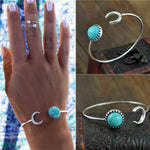 Vintage Silver Plated Turquoise Bangle Bracelet - Gifts Are Blue - 2