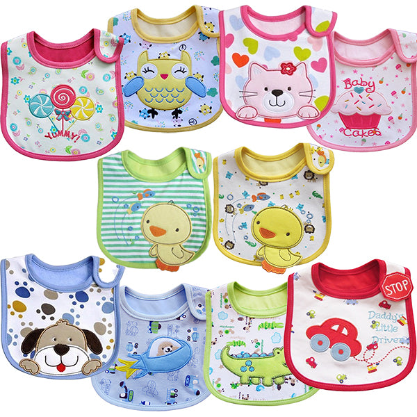 2 Pack of Baby Waterproof Cotton Bibs with Embroidered Designs - Gifts Are Blue - Waterproof Baby Cotton Bibs Styles
