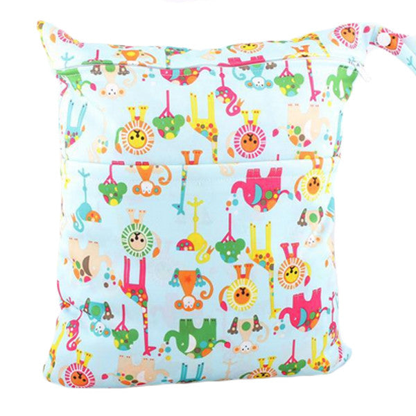 Waterproof Double Zipper Wet Dry Reusable Diaper Bag - Gifts Are Blue - 8