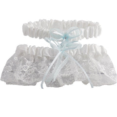 White and Blue Embroidered Wedding Garter Set with Tulle and Crystals - Gifts Are Blue