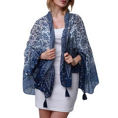 Womens Fashion Pashmina Scarf Wrap in a Beautiful Print with Tassels