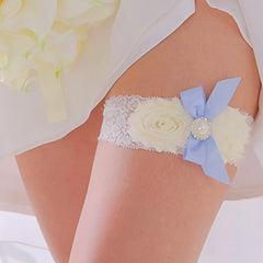 Vintage White and Blue Bride Wedding Garter with Flower and Ribbon - Gifts Are Blue - 3