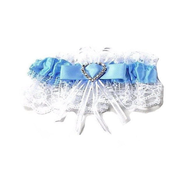 White and Blue Wedding Garter with Heart Shaped Rhinestone for Bride - Gifts Are Blue
