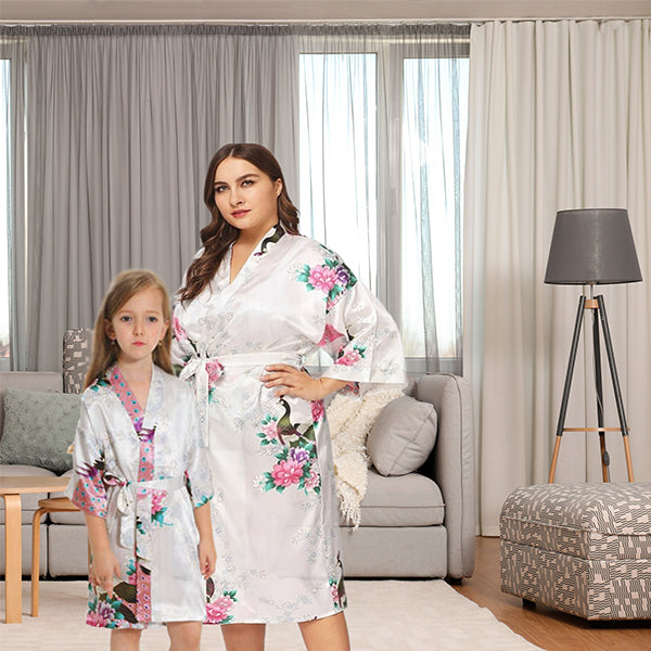 White Mommy and Me Robes, Floral, Satin, Lifestyle, all SKUs