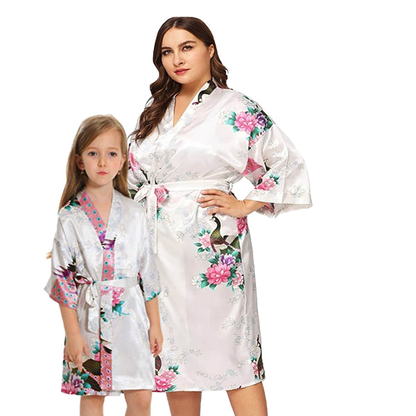 White Mommy and Me Robes, Floral, Satin, Main, all SKUs