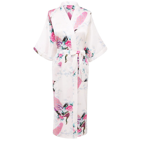 Elegant Long Floral Silk Kimono Womens Robe, Small to 3XL - Gifts Are Blue - 2