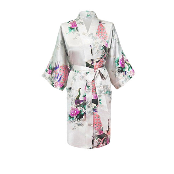 Medium Length Womens Silk Robes Kimono - Lightweight - Gifts Are Blue, White