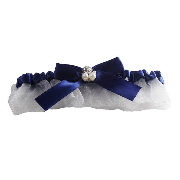 Bridal Garter with Transparent Tulle Skirt, Pearls and Blue Ribbon