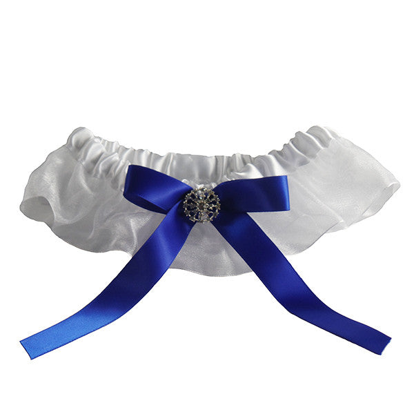 White Wedding Garter with Royal Blue Satin Band - Gifts Are Blue