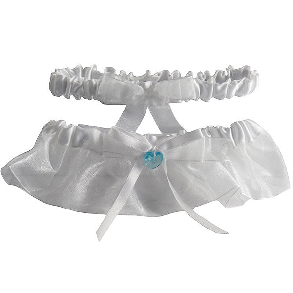 White With a Hint of Blue Wedding Bridal Garter Set, 2 Pcs - Gifts Are Blue